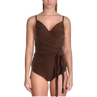 It Figures! Womens Wrapture Shirred Shaping One-Piece Swimsuit