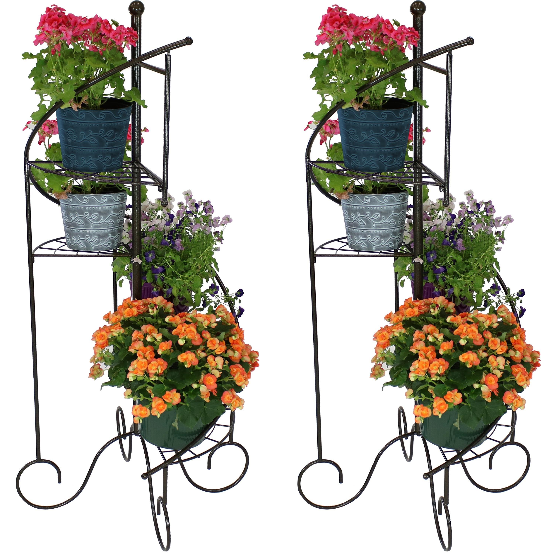Shop Sunnydaze 4 Tier Flower Plant Stand Metal Spiral Staircase Design 2 Pk 56 Overstock 29071725