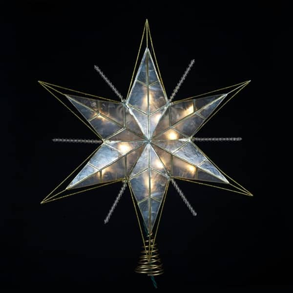 15 Lighted Capiz Gold And Beaded Star Christmas Tree Topper Clear Lights