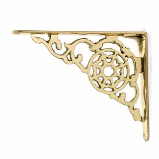 2 Antique Style Shelf Brackets Solid Bright Brass 6-1/8 in. Set of 2