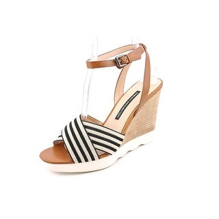 French Connection Jane Women Open Toe Leather Tan Wedge Sandal