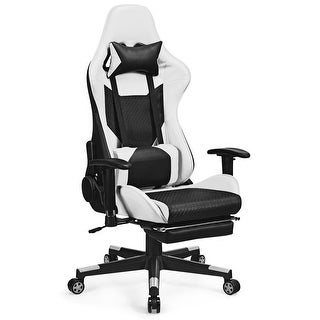 Costway Massage Gaming Chair Recliner Racing Chair w/ Massage Lumbar Support & Footrest (White)