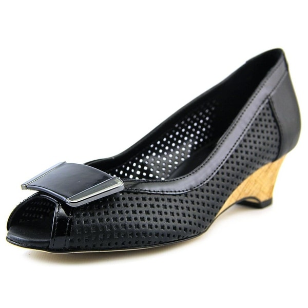 Vaneli Bonnee Women Open Toe Leather Black Wedge Heel