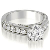 1.50 cttw. 14K White Gold Antique Style Cathedral Round Diamond Engagement Ring
