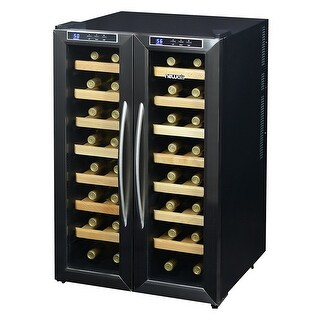 NewAir AW-321ED Collector's 32 Bottle Dual-Zone Wine Cooler, Stainless Steel - stainless steel & black