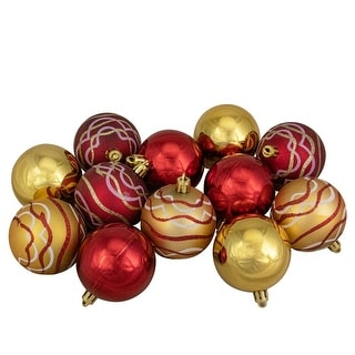 """Link to 12ct Red and Gold Shatterproof Shiny and Matte Christmas Ball Ornaments 2.25"""" (60mm) Similar Items in Christmas Decorations"""