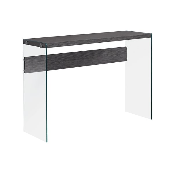 """44"""" Gray and Clear Contemporary Accent Table with Tempered Glass Top - N/A"""