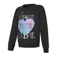 Hanes Girls' Love Your Selfie Crewneck Sweatshirt - Size - M - Color - Love Your Selfie/Black