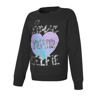 Hanes Girls' Love Your Selfie Crewneck Sweatshirt - Size - M - Color - Love Your Selfie/Black - Assorted