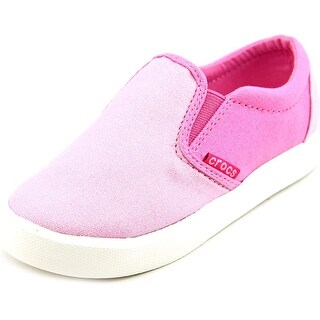 Crocs CitiLane Slip-on Toddler Round Toe Canvas Pink Sneakers
