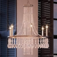 """Luxury Crystal Chandelier, 26.5""""H x 22.5""""W, with Victorian Style, Cascading Design, Brushed Nickel Finish"""