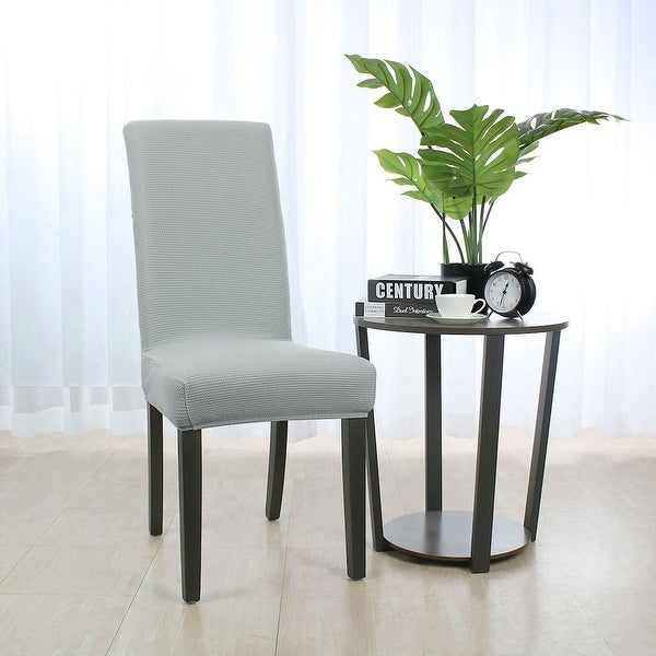 Shop Stretch Knit Jacquard Chair Cover High Back Dining ...
