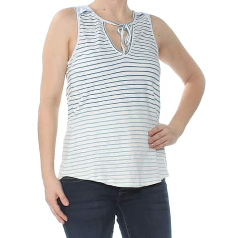 SANCTUARY Womens Ivory Striped Eyelet Trimmed O Sleeveless Keyhole Sweater Size: XS