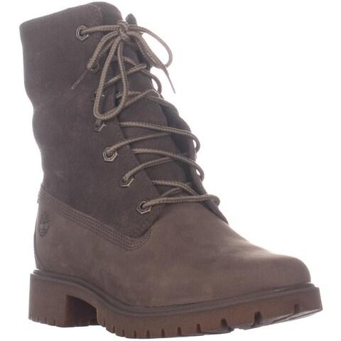 Timberland Jayne Fleece Fold Down Ankle Boots, Light Brown Leather - 5.5 US / 36 EU
