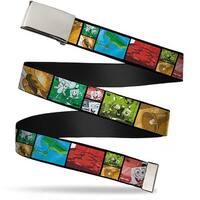 Blank Chrome Buckle Krusty Krab'S Cam Scene Blocks Webbing Web Belt