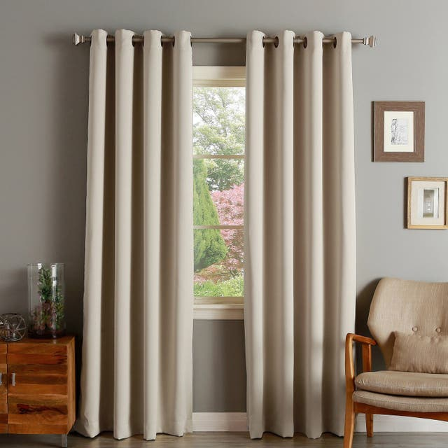 """Aurora Home Thermal Insulated Blackout Grommet Top Curtain Panel Pair - 52"""" W X 63"""" L - Biscuit"""