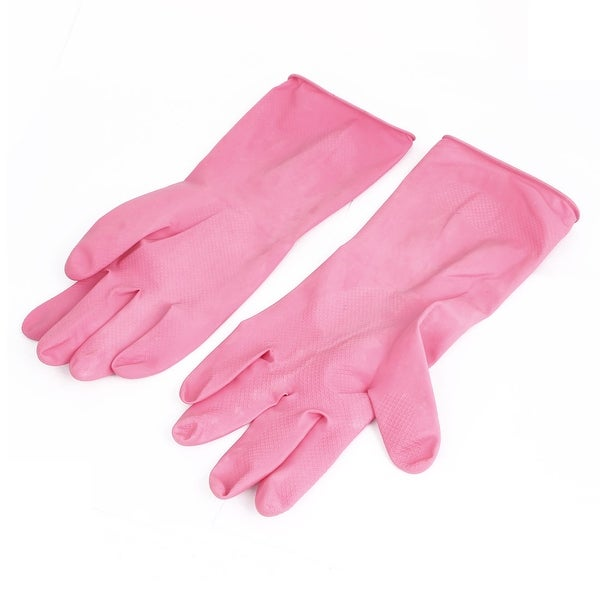 Unique Bargains 30cm Long Rubber Household Kitchen Dish Cleaning Washing Gloves Fuchsia Pair