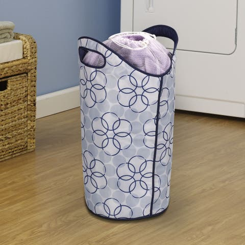 Household Essentials Durable Polyester with Drawstring Mesh Closure Soft-Sided Laundry Tote, Magic Rings