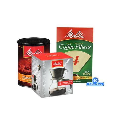 Melitta Pour Over One-Cup Ceramic w/ Size 4 Filter & Coffee Pour Over One-Cup Ceramic w/ Size 4 Filter & Coffee