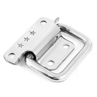 Unique Bargains Silver Tone 4 Screws Mounted Cabinet Crates Box Puller Pull Chest Handle