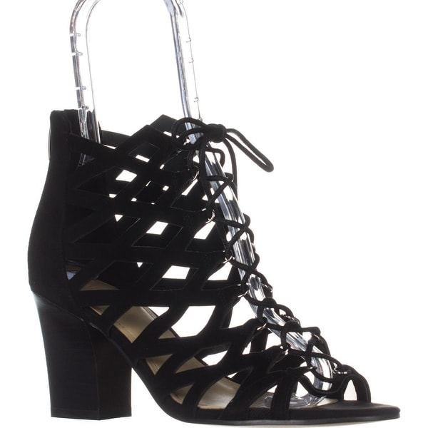 Marc Fisher Blair Lace-Up Heeled Sandals, Black Multi Suede