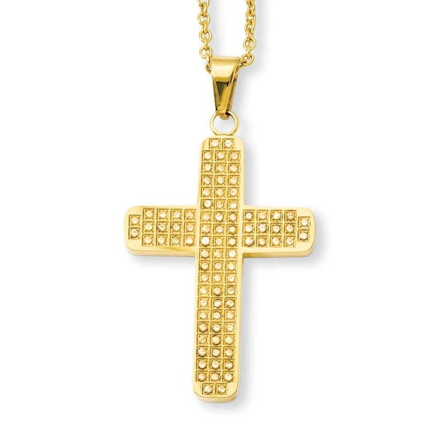 Stainless Steel IP Gold Plated with CZs Cross Pendant 22in Necklace (2 mm) - 22 in