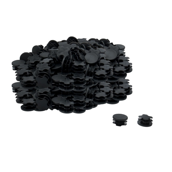 """105pcs 7/8"""" 22mm OD Plastic Round Tube Inserts Ribbed Cover Caps Black Floor Table Protector, 0.75""""-0.83"""" Inner Dia"""