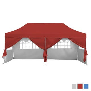10X20 Pop Up Gazebo Canopy Tent with Sidewalls & Wheeled Carry Bag Portable Patio Canopy Shelter Commercial Instant