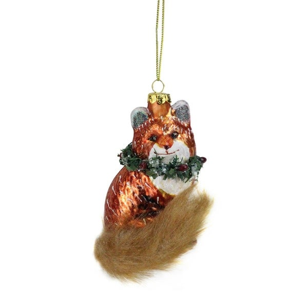 "4.5"" Fox with Faux Fur Tail and Wreath Christmas Ornament"