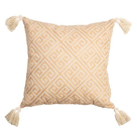 """Arden Selections Home 18"""" Throw Pillow - Tan Embroidered Greek Key with Tassels"""