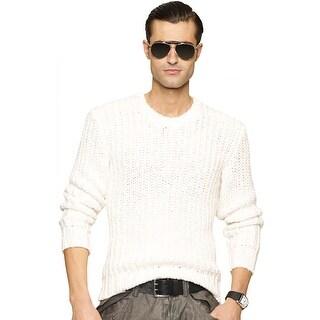 Ralph Lauren Black Label Mens Cream Knit Chunky Crewneck Sweater X-Large XL