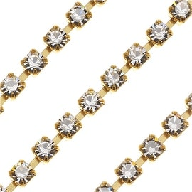 Czech Crystal Brass Rhinestone Cup Chain 24PP Crystal (By The Foot)