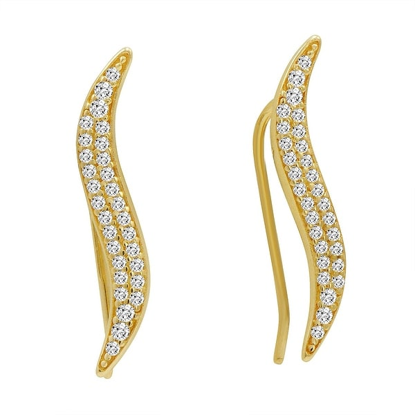 Amanda Rose Cubic Zirconia Ear Crawlers in 14k Yellow Gold