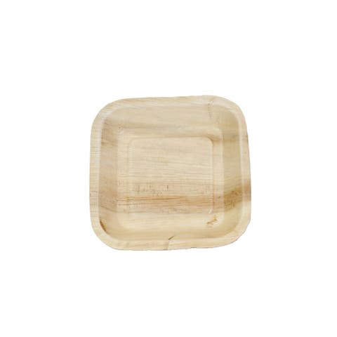 """Amrita Sen Indra Disposable Square Disposable Palm Leaf Plate 7"""" Set of 200, Natural"""