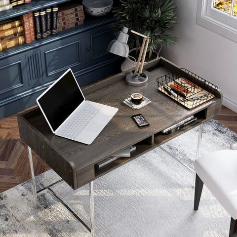 Furniture of America Yary Transitional Brown 47-inch Desk with USB Ports
