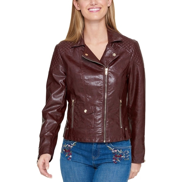 a2056f528 Shop Tommy Hilfiger Womens Leather Jacket Spring Moto - Free ...