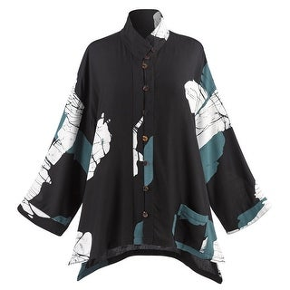 Catalog Classics Hand Batiked Tunic Top - Button Front, 3/4 Sleeve, Black Blouse