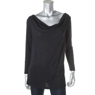 Three Dots Womens Striped Cowl Neck Sweatshirt