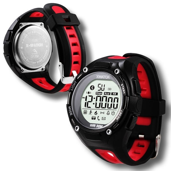 Indigi® Waterproof Bluetooth 4.0 Sports Watch + Call Notification + SMS Notification + StopWatch + 1 Year Battery (Red)