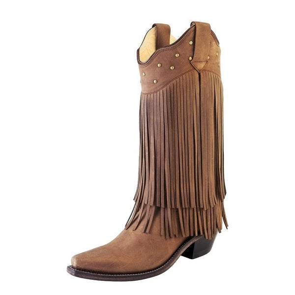 Old West Cowboy Boots Womens Fringe Studs Leather Chocolate