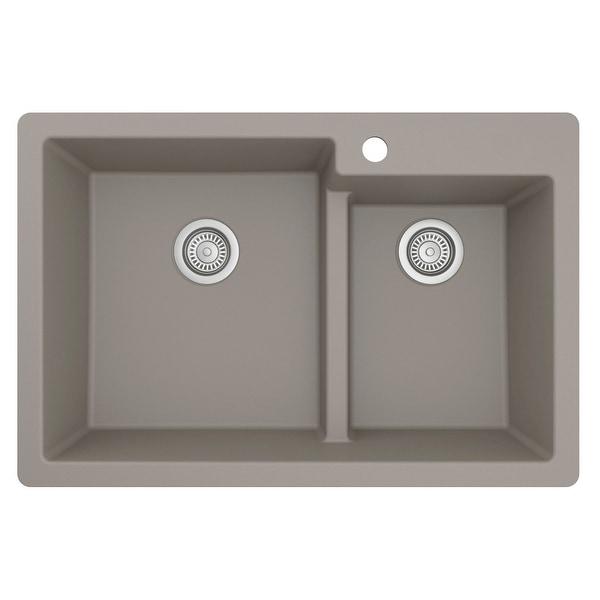 "Karran Top Mount Large/Small Bowl Quartz Kitchen Sink - 33"" x 22"" x 9"" - 33"" x 22"" x 9"". Opens flyout."