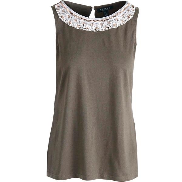 Lauren Ralph Lauren Womens Pullover Top Modal Blend Beaded