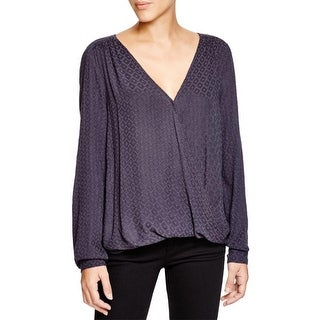 Velvet Womens Casual Top Textured Surplice
