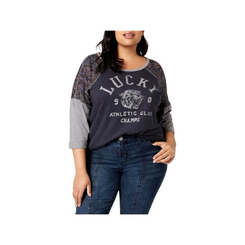 Lucky Brand Womens Plus Graphic T-Shirt Printed 3/4 Sleeves
