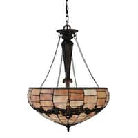 "Meyda Tiffany 130701 Concord 3 Light 20"" Wide Hand-Crafted Pendant with Stained Glass"