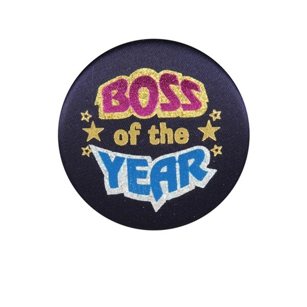 "Club Pack of 6 Boss Of The Year Black Satin Decorative Buttons 2"" - N/A"