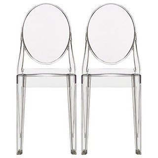 2xhome - Set of Two (2) - Clear - Victorian Ghost Chair Clear Side Chair Armless