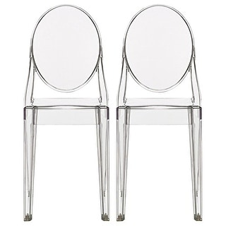 2xhome -Set of 2, Standard Size - Clear Plastic Dining Chairs Modern