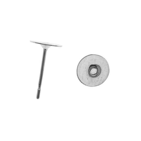 Surgical Steel Flat 6mm Glue On Earring Posts (10 Pairs)