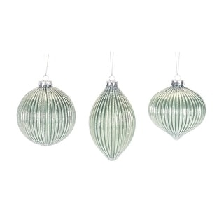 """Link to Set of 12 Assorted Green and Silver Beaded Glass Christmas Ornaments 6"""" Similar Items in Christmas Decorations"""